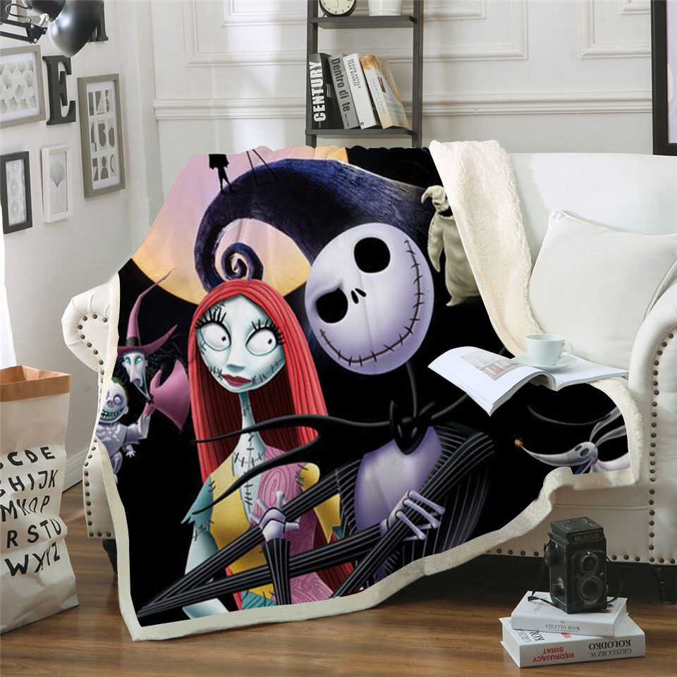 Jack Skellington Print Sherpa Fleece Skull Adults Throw Blanket Nightmare before Christmas Cast Boy Plush Blanket 3D Microfiber