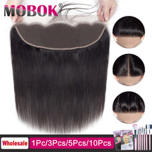 MOBOK Malaysian 13x4 Straight Lace Frontal Closure Human With Baby Hair Free Part Side closure 13*4 Lace Frontals free to Brazil(China)