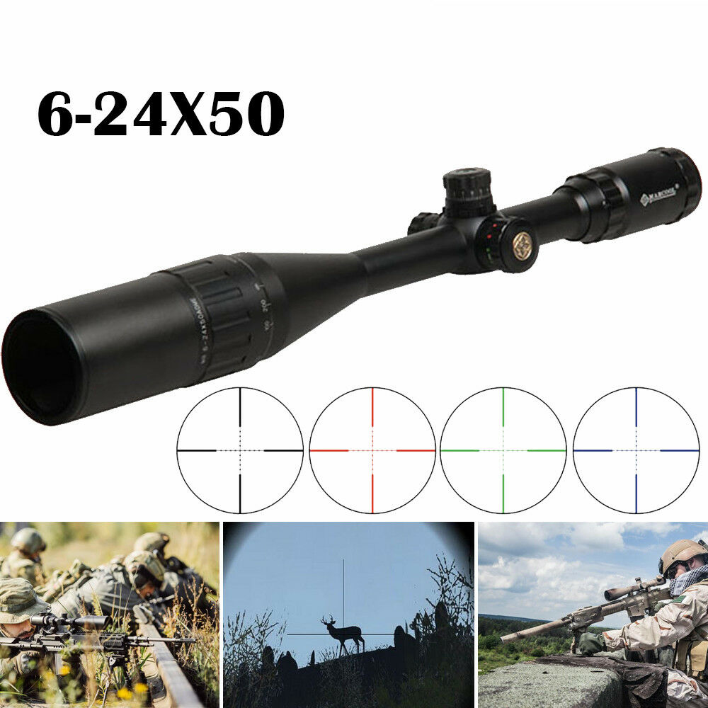 Tactical Riflescope 6-24X50 AOE Red Green Illuminated Crosshair Rifle Scope Optical Sight Hunting Scopes