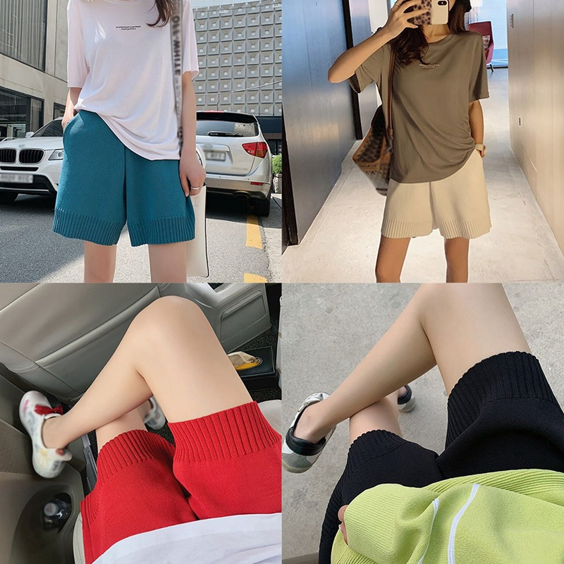 Knitted Shorts Women Autumn Korean Style Casual High Waist Wide Leg Short Pants Red Blue Black White