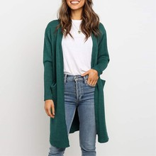Solid O-Neck Open Stitch womens sweaters 2019 Long Sleeve temperament Cardigan Knitwear Pocket Sweater Luxury knitted coat