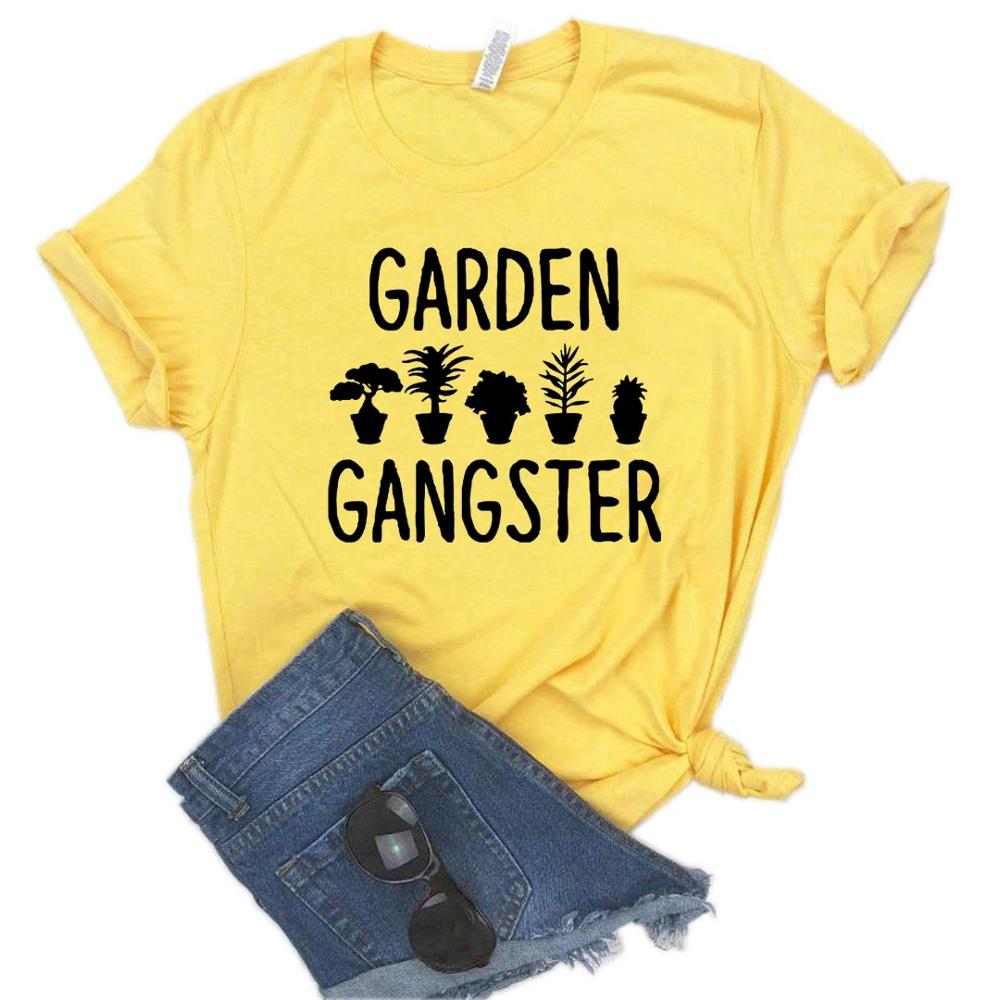 Garden Gangster Flower Print Women Tshirt Cotton Casual Funny T Shirt For Yong Lady Girl Top Tee 6 Colors Drop Ship NA-421