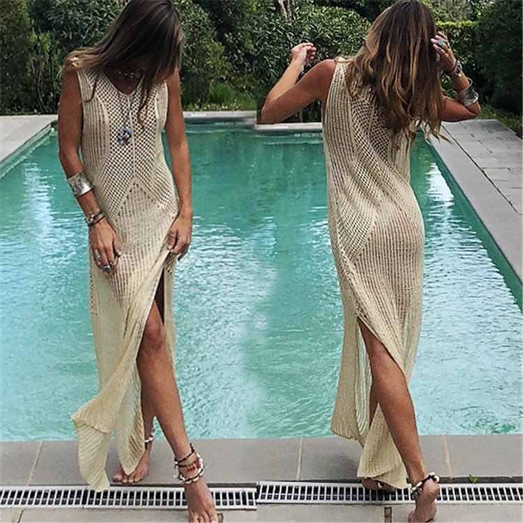 Hot Selling Europe And America Knitted Hollow Out Apricot Beach Skirt One Piece Long Skirts Holiday Long Skirts Knitted Dress