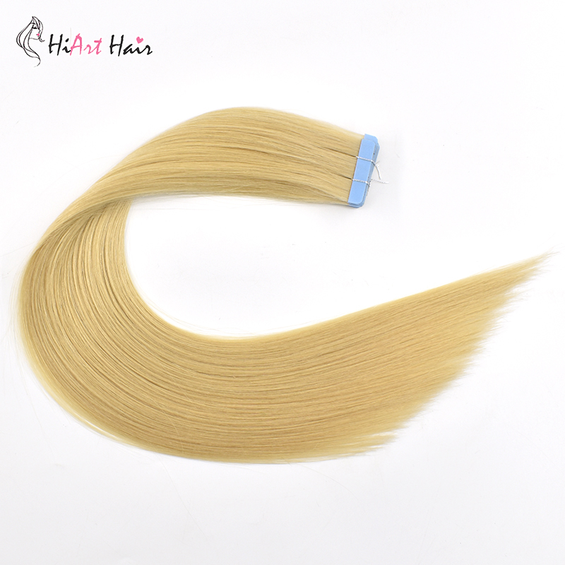 HiArt Tape In Human Hair 2.5g/pc Salon Double Drawn Remy Hair Skin Weft Extensions Adhesive Russian Hair Straight 20""