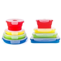 8Pcs Thin Bins Collapsible Containers Food Storage Containers Bpa Free, Microwave, Dishwasher and Freezer Safe, No More Clutte