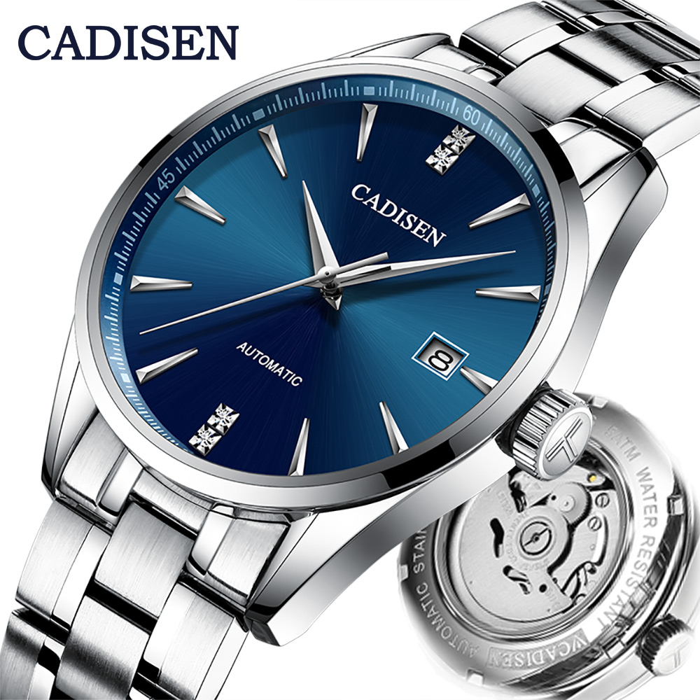 CADISEN Automatic Mechanical Men Watch Stainless Steel Japan NH35A Curved Glass Business Fashion Leisure Waterproof Wrist Watch