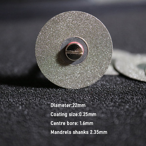 Image 2 - 5 قطعة مختبر الأسنان الماس القرص أقراص مزدوجة الوجهين حصى أسطوانة تقطيع أداة قطر 22 مللي متر سمك 0.25 مللي متر مع 1 mand