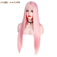AISI HAIR Light Pink Synthetic Lace Front Wig Long Straight Wigs for Black Women Middle Part Black Red Cosplay Lace Wig 13x4