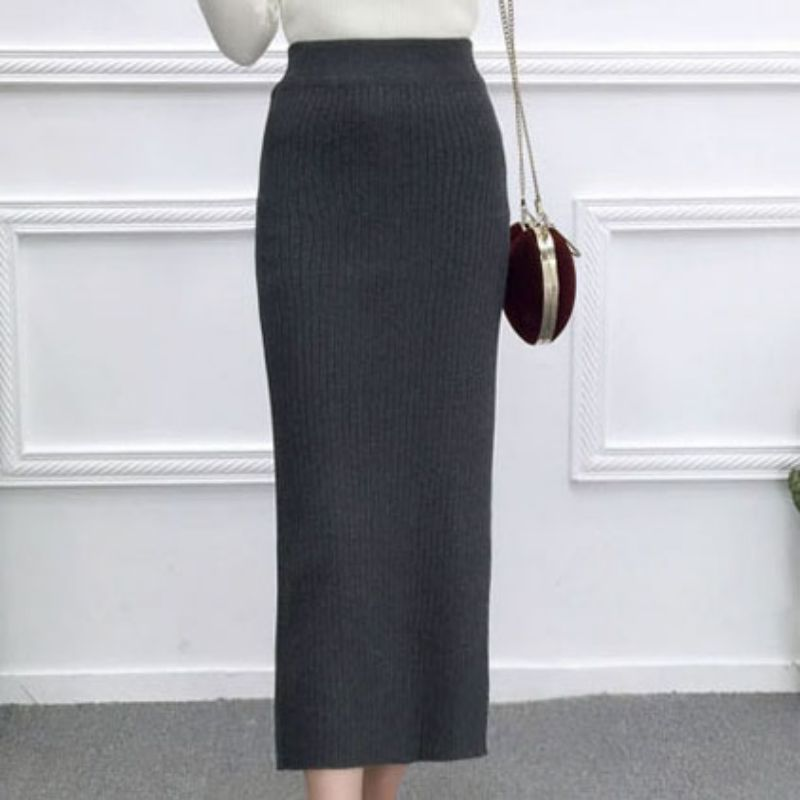 Women Knitted Long Skirts Fashion Casual Female Elastic Skirt High Waist Autumn Skirts