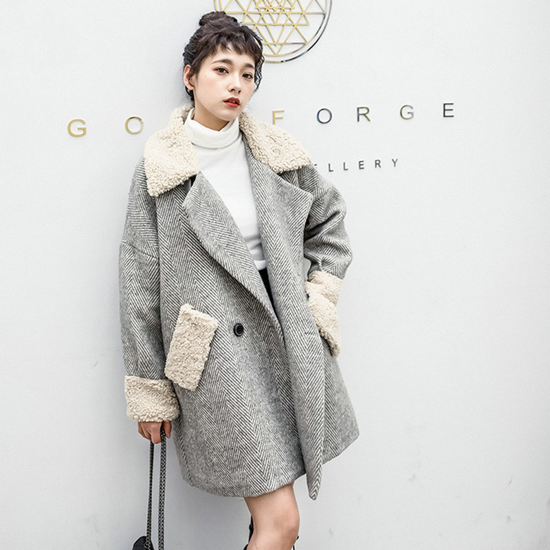 Gray Berber Fleece Collar Cuff Coat