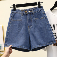 2222Large Size Female Fat Sister 2020 Summer New a Word Wide Leg Denim Shorts Fat mm Korean Style Loose Casual Hot Pants autumn new middle east popular solid color loose casual hanging neck loose wide leg large size fat mm sexy ladies dress