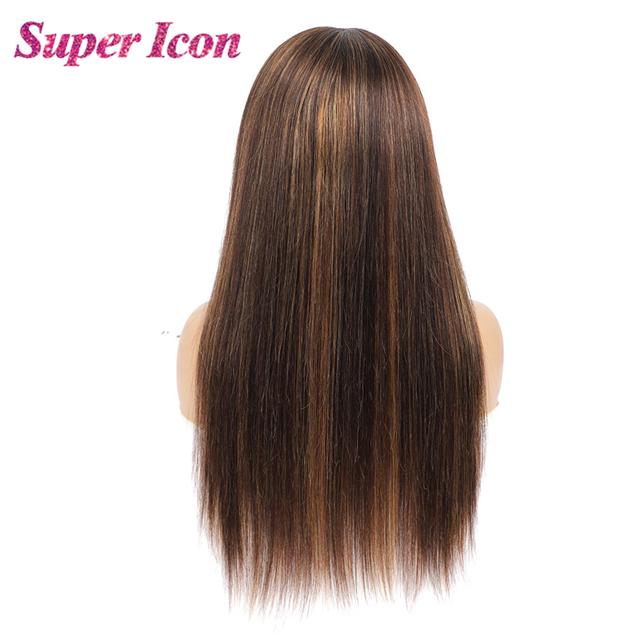 4/27 Colored Highlight Wigs Smooth Remy Human Hair Wigs Ombre Glueless Straight Headband Wig For Women Human Hair Super Icon