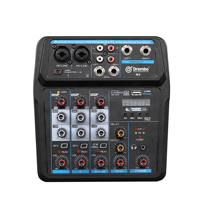 BeatBox 4 Kanäle Sound Mischpult Rekord Phantom Power Monitor AUX Wege Plus Effekte Audio Mixer Mit USB