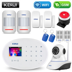 Sistema de alarma de seguridad para el hogar KERUI WIFI GSM con Panel táctil TFT de 2,4 pulgadas Control de aplicación RFID tarjeta inalámbrica alarma antirrobo para el hogar inteligente