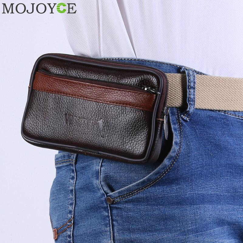 Multi-Function Men Wallet Fashion Cowhide Leather Purse Belt Bag Retro Card Clutch Holder Casual Male Phone Pouch