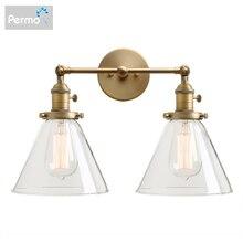 Permo lámpara de pared moderna lámpara de pared aplique de 7,3 embudo de cristal pantalla Wandlamp dormitorio espejo luces decoración de Loft accesorios de luz