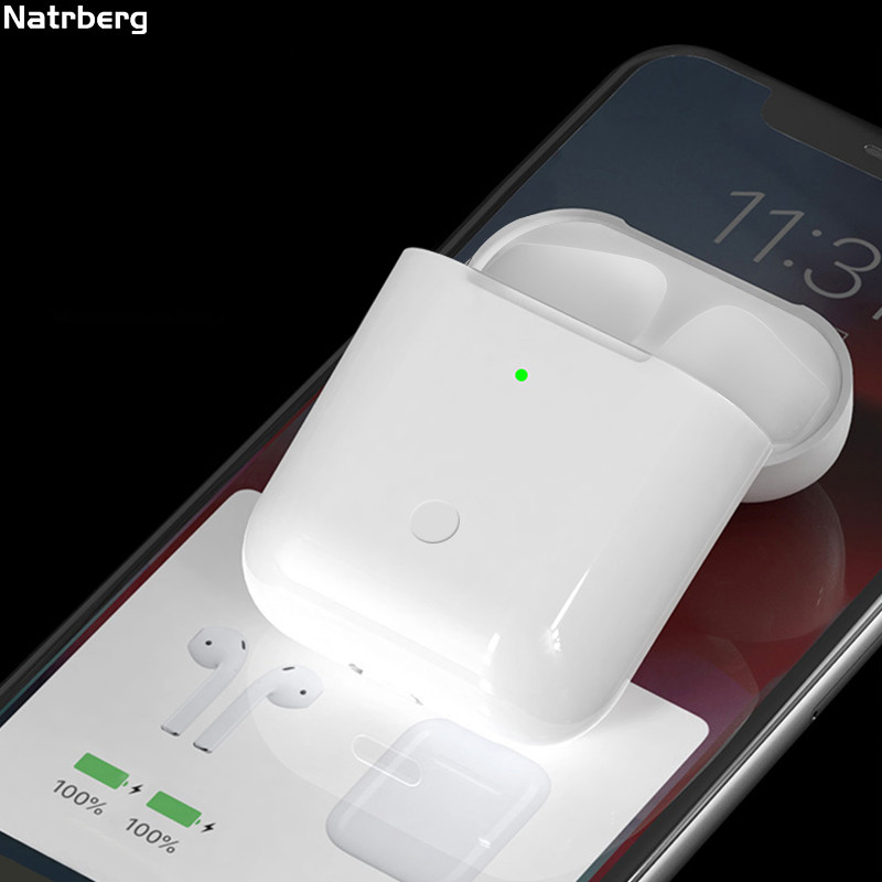 Charging Case For <font><b>Airpods</b></font> Replacement Qi Wireless Bluetooth 450Mah Charge With Pairing <font><b>Pop</b></font> <font><b>up</b></font> Windows for <font><b>Airpods</b></font> Pod Pods 1 2 image
