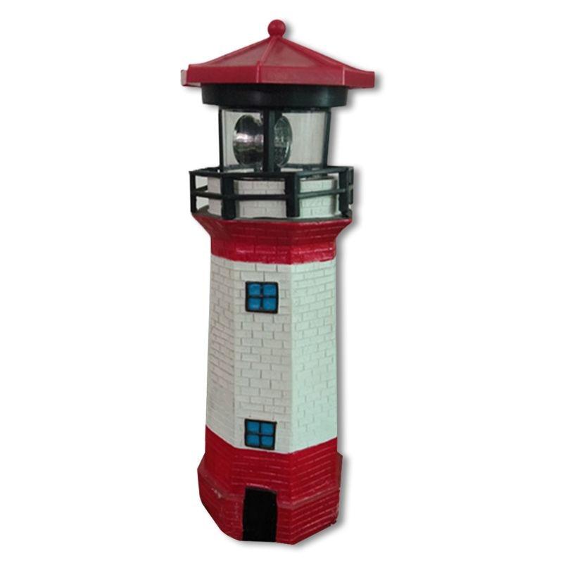 Fence Lighthouse Light Rotating Beam Patio Ornament Garden Lamp Solar Power LED E65B
