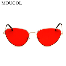 MOUGOL Retro cat-shaped eyes Women's sunglasses Yellow red lenses sunglasses fashionable lightweight for women vintage metal цены