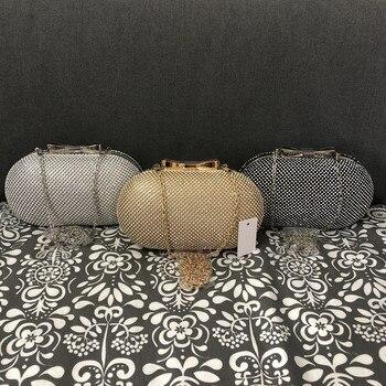 Wedding Bridal Beaded Women Evening Bag Chain Shoulder Handbags Elegant Rhinestones Clutch Evening Bag Egg Shape Day Clut