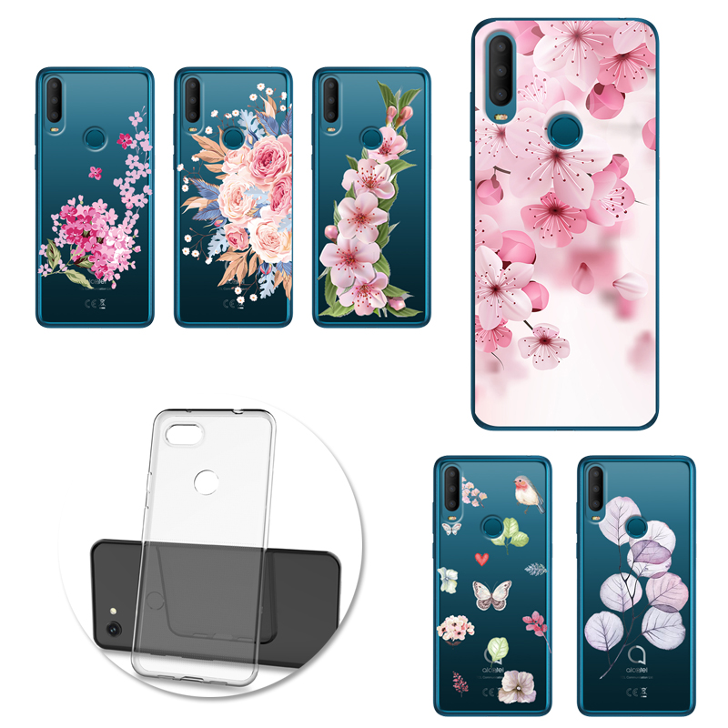Retro Flower Leaves Phone Case soft cover For <font><b>Alcatel</b></font> 1 1S 1V 3 3X 3L 2019 1C 5003D 1X <font><b>5008Y</b></font> Funda image