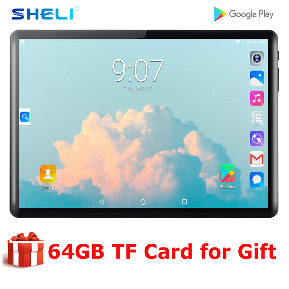 2020 Newest 10 inch Tablet PC Android 9.0 Quad Core 2GB RAM 32GB ROM Bluetooth 5.0MP IPS 1280*800 GPS wifi Phone Tablets 10.1 image