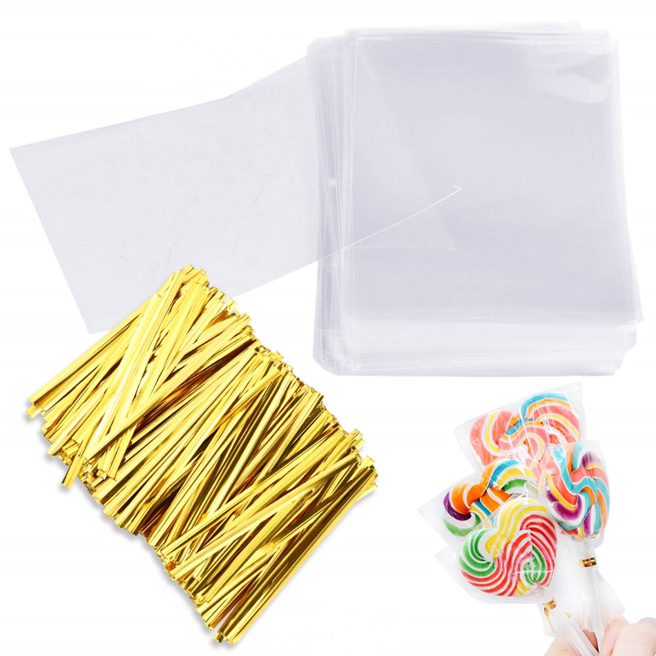 100 Treat Bags 8x10cm With 100 Twist Ties 10cm OPP Plastic Bags For Lollipop Candy Cake Pop Chocolate Cookie Wrapping Buffet