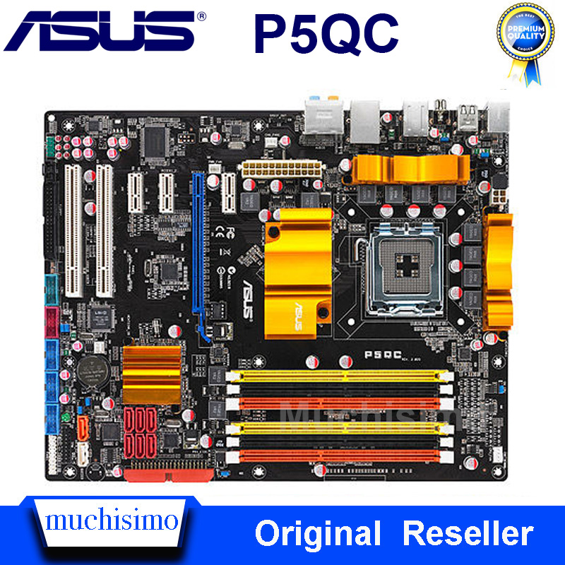LGA 775 For ASUS P5QC Motherboard For Intel P45 Desktop DDR2 / DDR3 Mainboard System Board PCI-E X16 8 Phase Power Supply Used