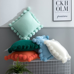 Однотонный Чехол на подушку, белый, зеленый, оранжевый, синий вязаный помпон, однотонный Чехол на подушку 45*45 см, мягкий для дивана, кровати, д...