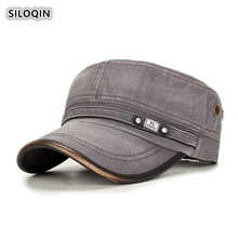 SILOQIN Autumn Winter Mens Fashion Retro Flat Caps Washed Cotton Army Military Hats For Men Snapback Adjustable Size Brand