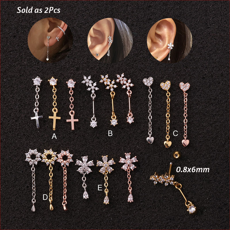 1piece Silver Color Moon Star Flower Pendant CZ Tragus Cartilage Stainless Steel Ear Stud Piercing Crystal Daith Earring