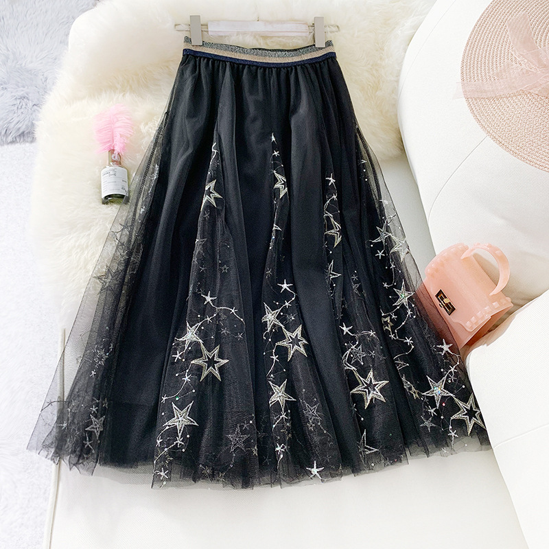 High Quality Embroidered Sequins Skirts Womens 3 Layers Mesh Gauze Skirt Sweet Ladies Tulle Long Skirt Stars Sky Fairy Skirts