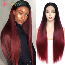 X-TRESS ombre peruca vermelha perucas sintéticas do laço da parte dianteira para o vinho vermelho macio das mulheres pretas longa reta livre peruca do laço da parte com cabelo do bebê