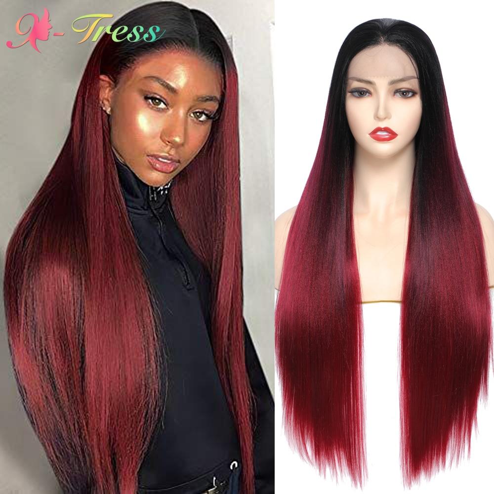 X-TRESS Ombre Rouge Perruque Synthétique Avant de Lacet Perruques Pour Les Femmes Noires Doux Vin Rouge Longue Droit Partie Gratuite Dentelle Perruque avec des Cheveux De Bébé