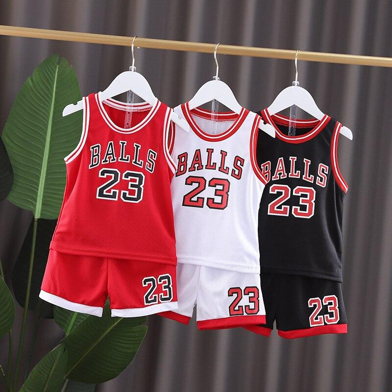 ילדי ילד ספורט כדורסל maillotClothes חליפת קיץ ילדים של ילד ילדה אופנה שרוולים תינוק אפוד + חולצה גופיות