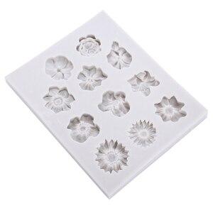 Image 1 - Molde de silicona para Fondant de 11 agujeros, molde para pastel de flores DIY, molde para pastel de azúcar de Chocolate, herramienta de decoración reutilizable para hornear en la cocina