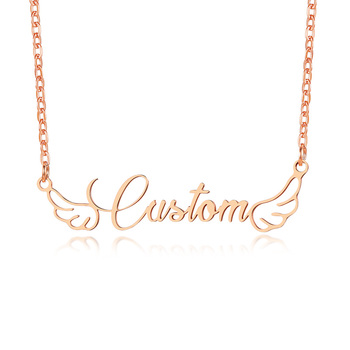 Personalized Name Choker Custom Necklace Angel Wings Women Fashion Letters Jewelry
