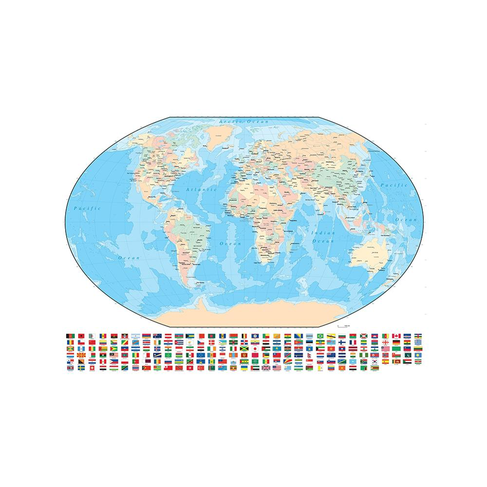 150x225cm Vinyl Spray World Map Mercator Projection With National Flag For Travel And Education