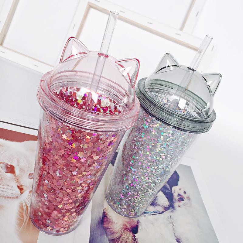 Sequined BPA Free Water Bottle with Straw Plastic Flash Cat Ear Double Wall Drinking Bottle Coffee Juice Cup image