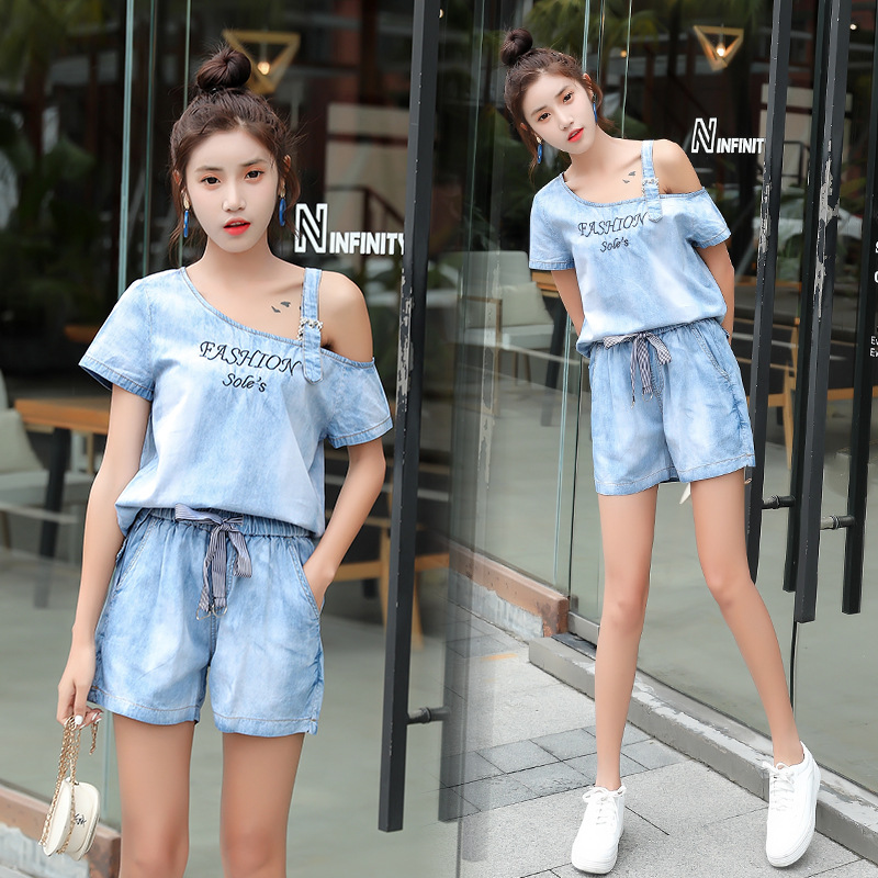 Cowboy Loose Pants WOMEN'S Suit 2019 Summer New Style Korean-style Fashion Elegant Goddess-Style Shorts Two-Piece Set