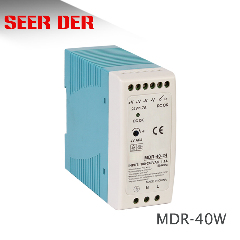 MDR-40W Single output <font><b>Din</b></font> Rail <font><b>AC</b></font> 220V to 12v <font><b>DC</b></font> 3.3A 40W / <font><b>24V</b></font> 1.5A switching power supply image