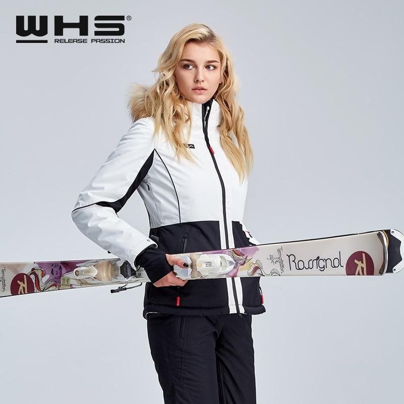 WHS New Women Ski Jacket Winter Waterproof Fur Collar Ski Coats Female Outdoor Climbing Snow Jacket Skiing Coat Fashion Women