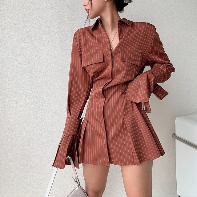 2021 Spring Long Sleeve White Pleated Shirts Women Casual Turn Down Collar Chiffon Blouse Office Lady A Line Style Vestidos Tops 5