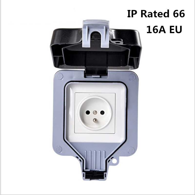 Weatherproof Electrical outlet power socket waterproof outdoor gounded wall socket IP66 16A-in Electrical Sockets from Home Improvement