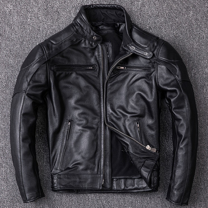 Real Cow Leather Jacket Autumn Winter Genuine Leather Jacket Men Clothes 2020 Vintage Coat Chaqueta Cuero Hombre ZL401