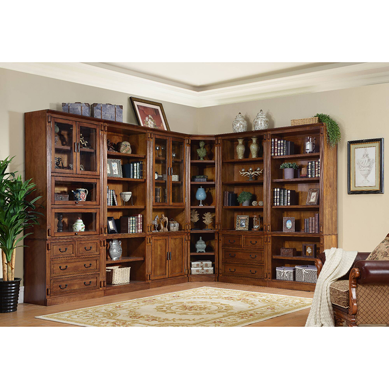 Solid wood big bookcase with glass doors models sapien bookcase WA697