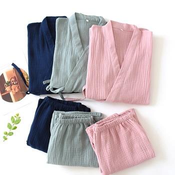 Men and Women 100% Cotton Pajamas Plus Size Loose Bathrobes V-Neck Kimono Pijama Mujer Three Quarter Sleepwear Couple Sleepwear