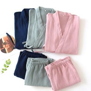 Image 1 - Men and Women 100% Cotton Pajamas Plus Size Loose Bathrobes V Neck Kimono Pijama Mujer Three Quarter Sleepwear Couple Sleepwear