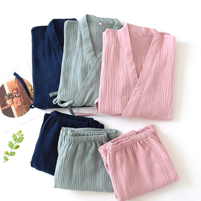 Men and Women 100% Cotton Pajamas Plus Size Loose Bathrobes V Neck Kimono Pijama Mujer Three Quarter Sleepwear Couple Sleepwear
