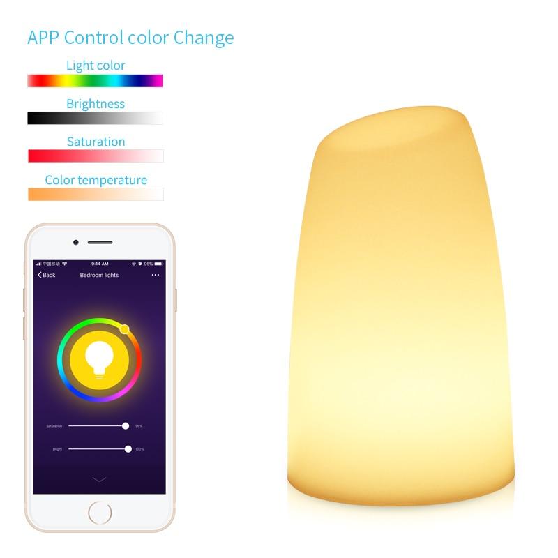 Nouveau moderne lumière LED Port de chargement USB Alexa Echo Google accueil contrôle intelligent couleur réglable décoration lampe de nuit minuterie Setti